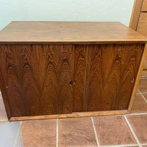 Lot # 116 - Mid Century Modern teak cabinet for tension rod bookcase (matches 21, 112)