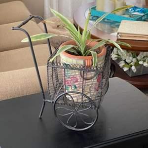 Lot # 11 - Mosaic planter in metal cart