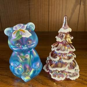 Lot # 43 - Fenton hand-painted bear & tree