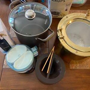 Lot # 66 - Cooking items and port hole ice bucket