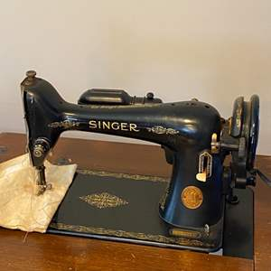 Lot # 89 - Antique Singer sewing machine with cabinet, bench and accessories
