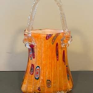 Lot # 115 - Handblown glass basket