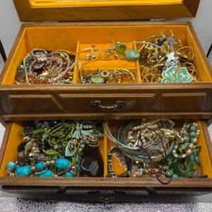 Lot # 121 - Jewelry box full of Costume jewelry