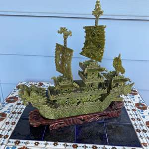 Lot # 182 - Chinese carved green jade Dragon boat