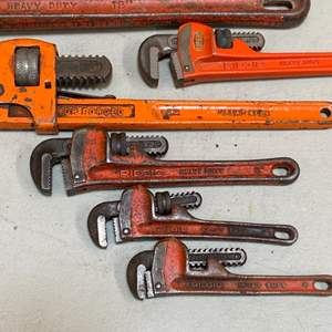 Lot # 189 - Various size pipe wrenches, mostly rigid brand