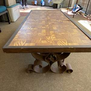 Lot # 222 - Vintage table with metal scrolled supports
