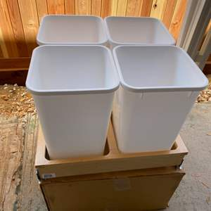 Lot # 228 - New, uninstalled sliding drawer with four trash/recycling bins