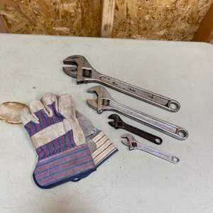 Lot # 244 - Collection of various size crescent wrenches with gloves