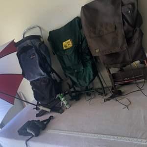 Lot # 9 - 3 Quality Camping Backpacks & Umbrella