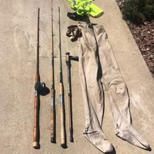 Lot # 15 - Vintage fishing pole equipment & penn reel. Walker fishing pole, field & stream pole