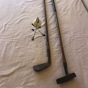 Lot # 29 - unique antique golf cigarette lighter / Carnoustie mashie and putter