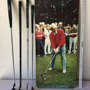 Lot # 35 - Four Vintage Putters and A Awesome Picture of Arnold Palmer