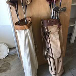 Lot # 37 - Antique Golf Club's in Bags / Walter Hagan Driver Set