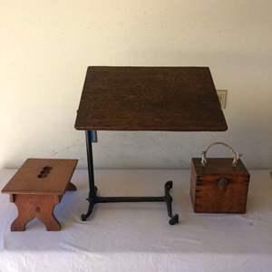Lot # 52 - Oak & Iron Tilt Table/Desk Plus Oak Box & foot Stool