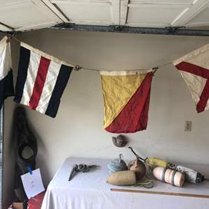Lot # 59 - Vintage Sailboat Flags and Buoys / Maritime Items