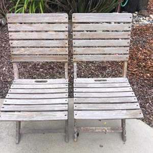 Lot # 64 - A Pair of Teak Patio Chairs