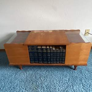 Lot # 72 - Mid Century Modern Wood Coffee Table with Encyclopedias