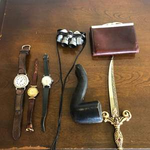 Lot # 99 - WOW! Ernest Borel kaleidoscope  watch…Swiss army watch and Bakelite tobacco pipe and more