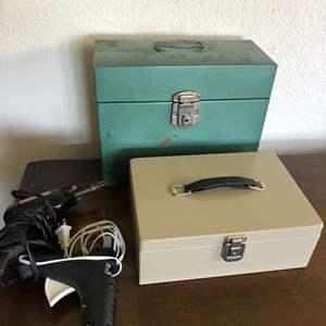 Lot # 107 - Soldering iron, glue gun and a cash box