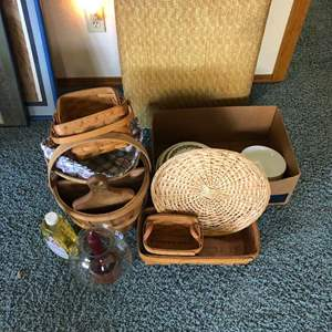Lot # 113 - Corelle Dishes, Wicker Baskets and More