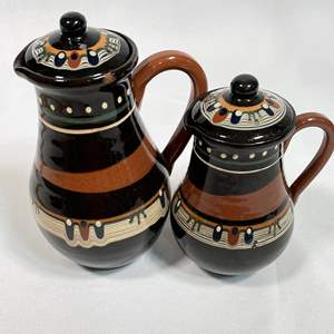 Lot # 3 - Bulgarian Pottery Tea Cups, Creamers, Plates and Bud Vase
