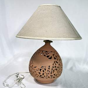 Lot # 5 - Egyptian Artisanal Carved Clay Lamp