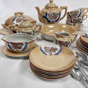 Lot # 6 - Vintage Children's Lusterware Tea Set and USA  Flatware