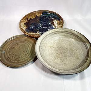 Lot # 8 - Hand Thrown Ceramic Plates and Bowl