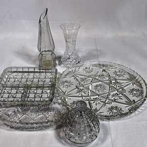 Lot # 17 - Assorted Glass Serving Pieces and Vases