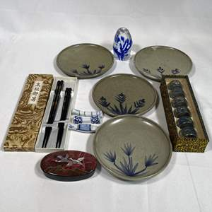 Lot # 20 - Japanese Tableware, Napkin Rings, Chopsticks and Holders, Glass Art and More