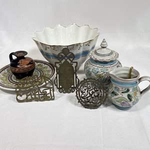 Lot # 21 - Egyptian Handmade Ceramic Sugar and Creamer Set, Serving Pieces and Decor