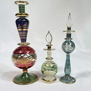 Lot # 25 - Ornate Glass Perfume Bottles