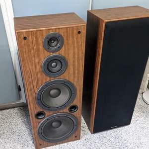 Lot # 61 - Technics SB-A37 Floor Standing Speakers and CD Rack