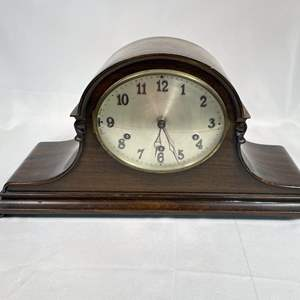 Lot # 42 - Antique Wood Mantle Clock, Ticks and Chimes