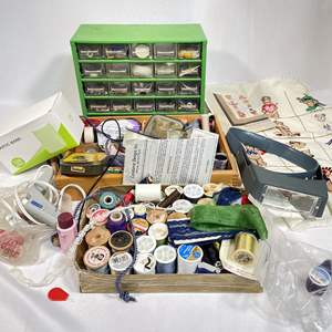 Lot # 46 - Sewing Notions and Magnifiers, Glue Gun and More