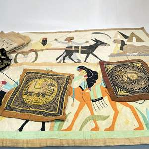 Lot # 48 - Vintage Egyptian Hand Sewn Decor (4) and More