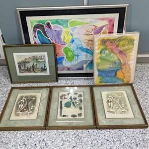 Lot # 134 - (3) Signed Mihail Simeonov Lithograph, (3) Gorgeous Watercolors