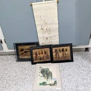 Lot # 135 - (3) Wood Veneer Art, (1) China Metallic Painting, (1) Scroll Art