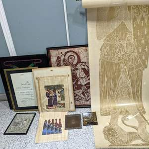 Lot # 137 - Knight with Lion Rubbing, Papyrus Art, Framed Coin Celebration Vest