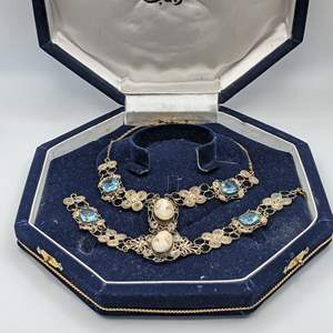 Lot # 78 - Victorian Cameo and Emerald Cut Aquamarine Necklace and Bracelet