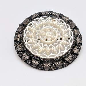 Lot # 80 - Victorian 925 Silver and Carved Mother of Pearl Brooch