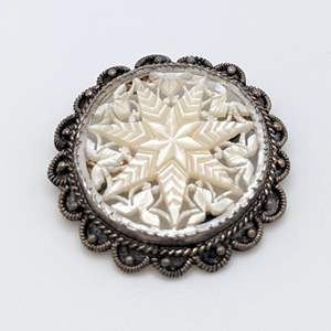 Lot # 81 - Victorian 935 Silver and Carved Mother of Pearl Brooch