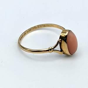 Lot # 83 - Angel Skin Coral 18K Gold Ring