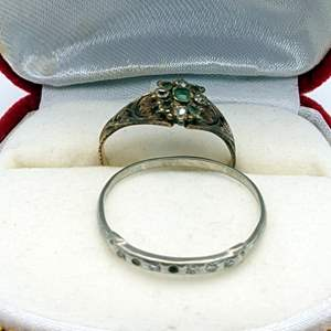 Lot # 85 - 14K Gold Rings With tiny Diamonds (2.75g total weight)