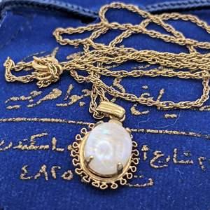 Lot # 86 - Brilliant Opal Pendant  (Approximately 2.75 carat) on 14K GF Chain