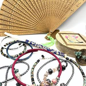 Lot # 109 - Jewelry, Chopsticks, Fan and Inlaid Stone Box