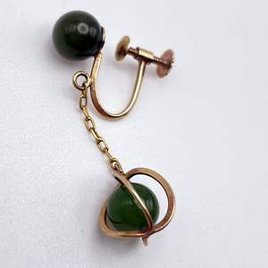 Lot # 113 - 18K Gold and Jade Earring