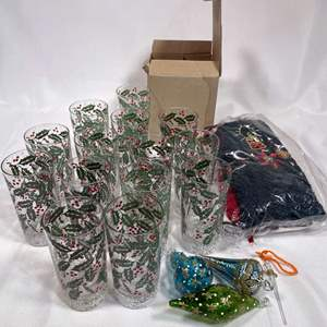 Lot # 41 - Christmas Glasses, Ornaments, Towels and Xmas Plate