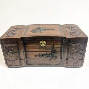 Lot # 57 - Wood Carved Jewelry and Music Box