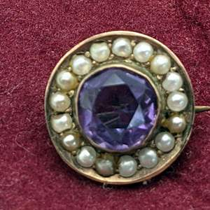 Lot # 89 - 14K Victorian Amethyst and Seed Pearls Brooch (19.2g total weight)